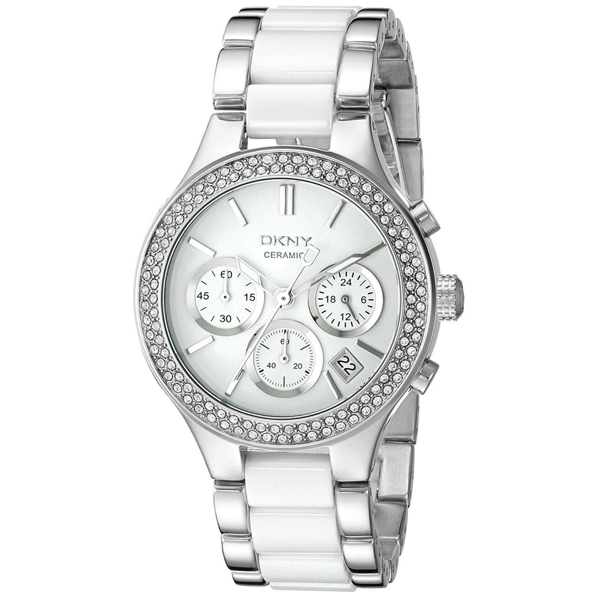 ราคา Dkny Ny8181 นาฬิกาข้อมือผู้หญิง สายเซรามิก สีเงิน ขาว Dkny