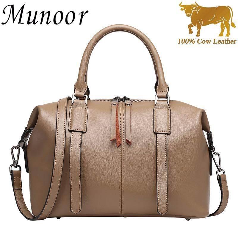ขาย Munoor Italian 100 Genuine Cow Leather Women Top Handle Bags Fashionable Lady Shoulder Bags Khaki Int L Intl จีน