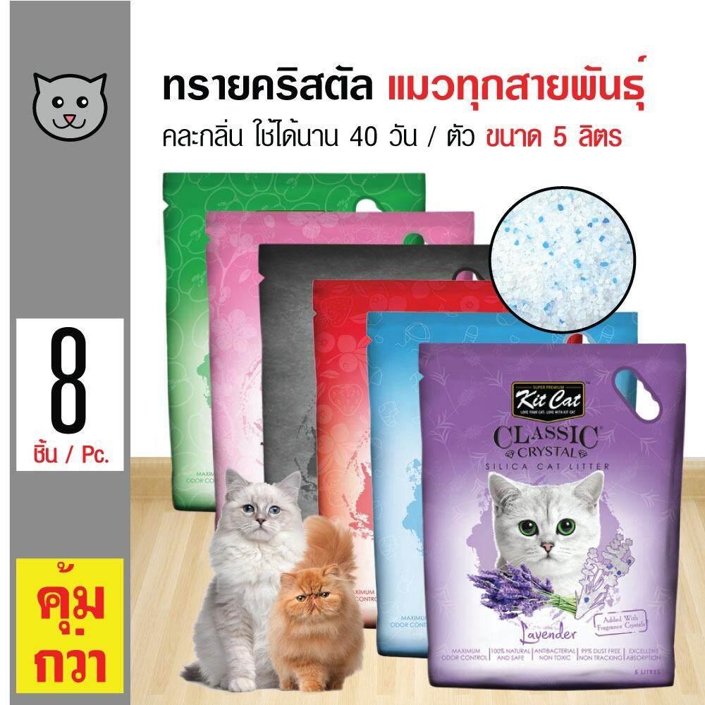ซื้อ Kit Cat ทรายแมวคริสตัล คละกลิ่น ไร้ฝุ่น ใช้ได้นาน 40 วัน สำหรับแมวทุกสายพันธุ์ ขนาด 5 ลิตร X 8 ถุง ใหม่