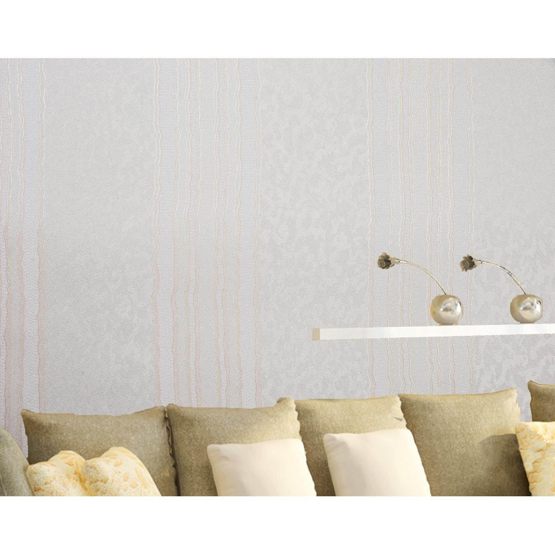 ซื้อ Homily Wallpaper Lxr รุ่น Cl 970505 โทนสีขาวมุก ลายตรงส้มอ่อน ใหม่