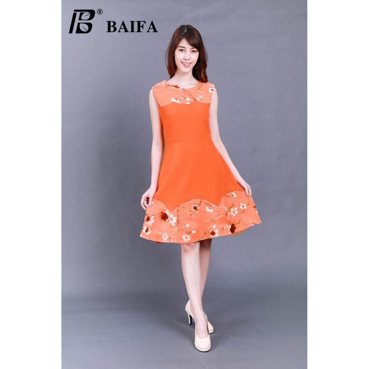 ขาย Baifa Shop ชุดเดรสผ้า มีซิปหลัง ทรงสวิงอย่างดี รุ่น3605 อก Bust 34 38 เอว Waist 28 32 สะโพก Hip 34 40 ยาว Total Length 37 Baifa ถูก