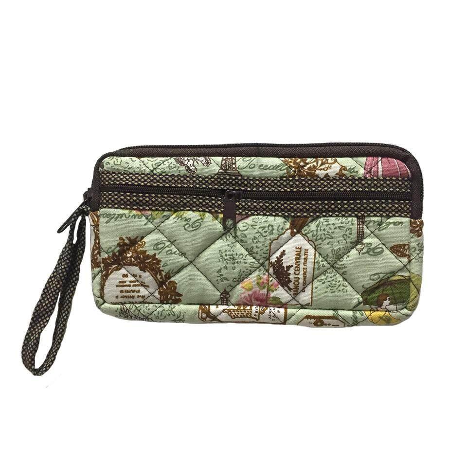 โปรโมชั่น กระเป๋าสตางค์ ผ้าแคนวาสสีเขียวอ่อน ถูก