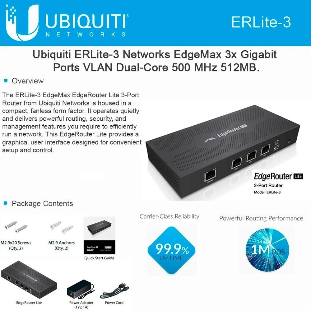 ซื้อ Ubiquiti Edgemax Erlite 3 Heavy Load Router สำหรับใช้งานหนัก Black ออนไลน์