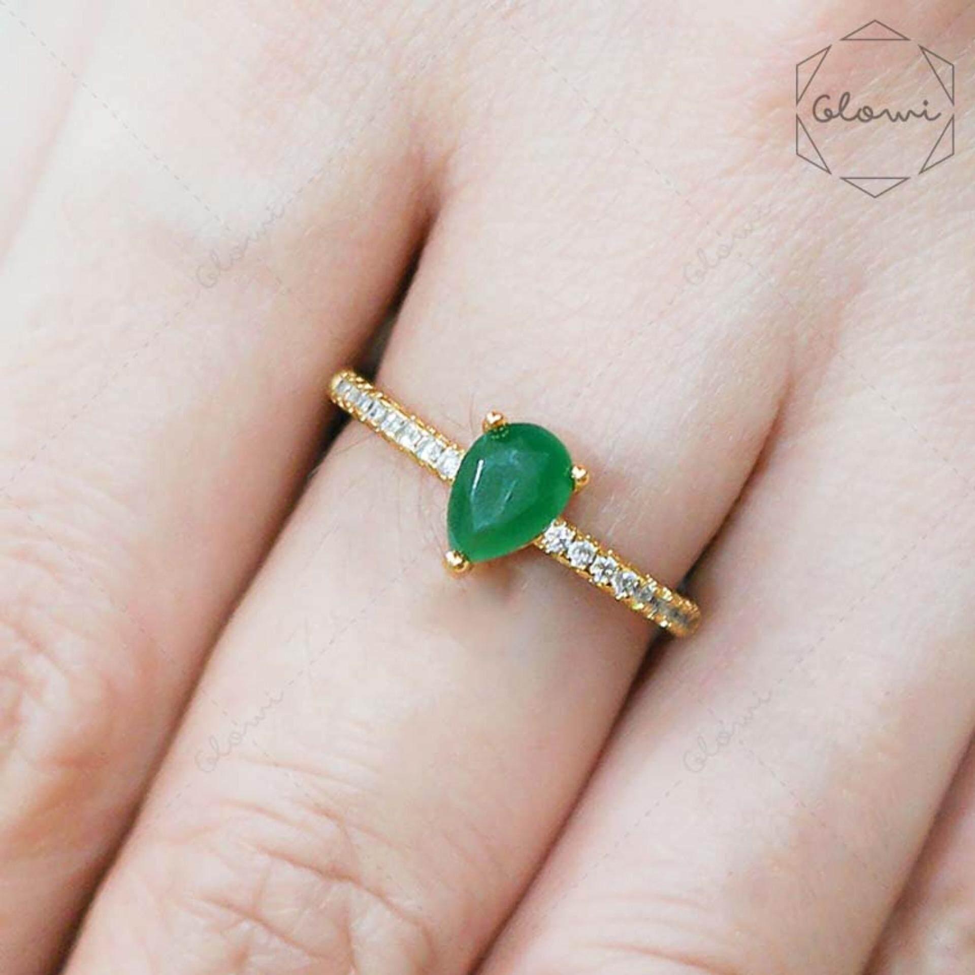 ซื้อ Bewi G แหวนชุบทอง ประดับคริสตัล เม็ดเดี่ยว รูปหยดน้ำ เพชร Cz ล้อมรอบวง รุ่น Bg R0048 สีเขียวมรกต Green ถูก ไทย