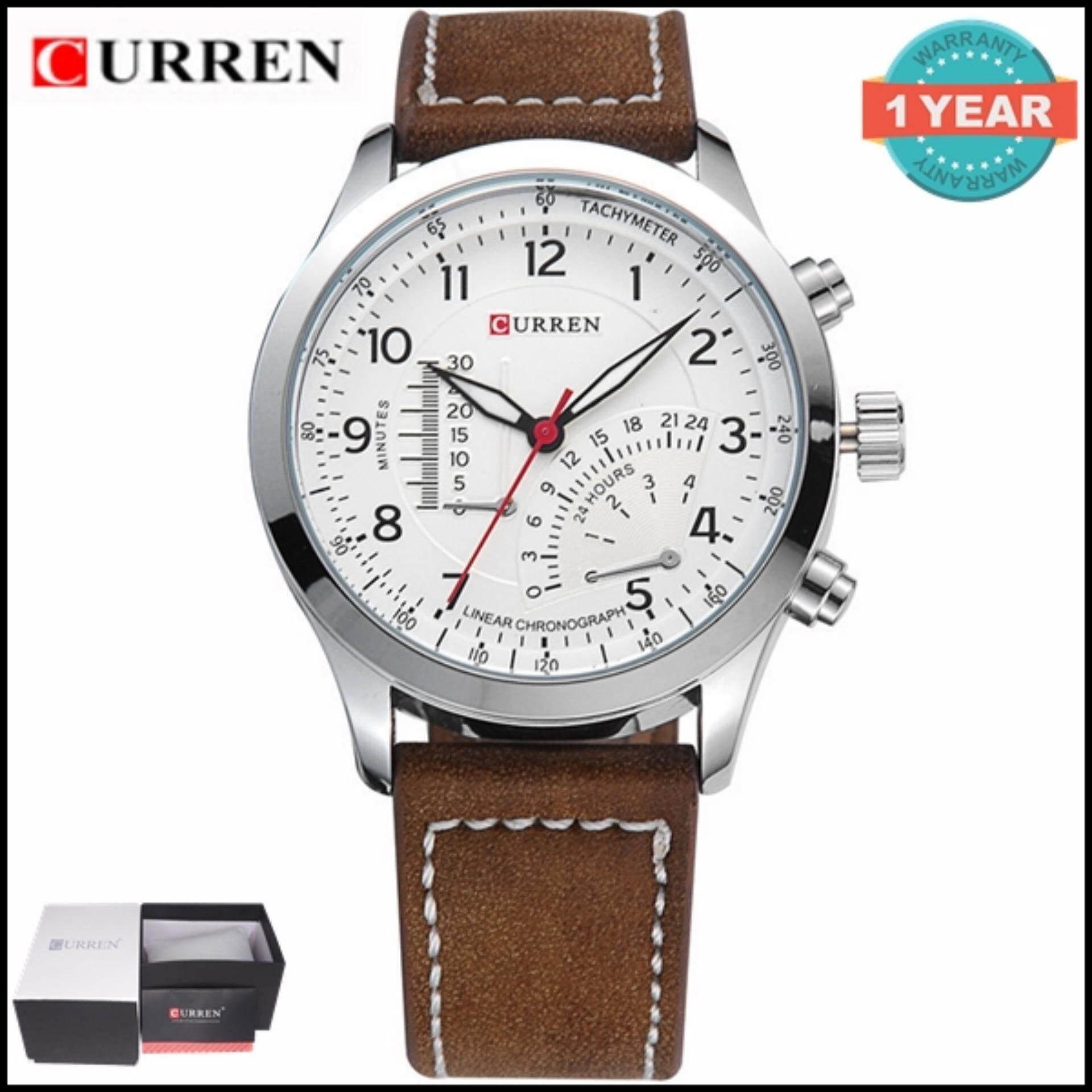 ขาย ซื้อ Curren นาฬิกาข้อมือสุภาพบุรุษ สีน้ำตาล สายหนัง รุ่น C8152