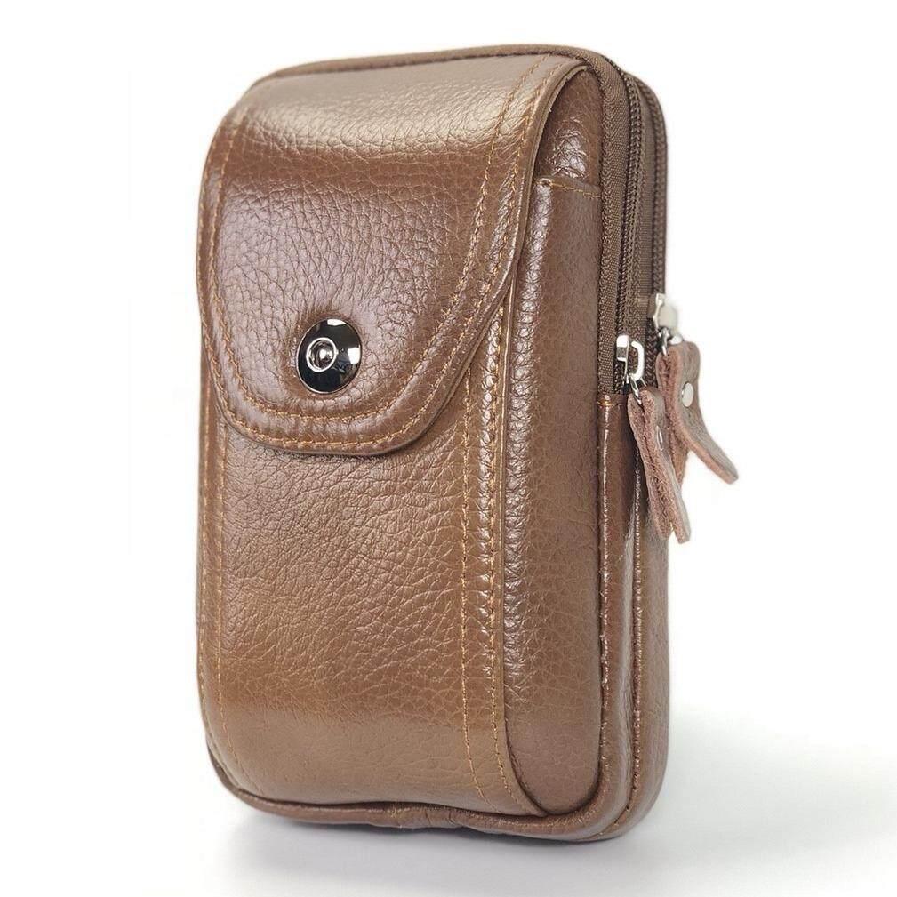 ราคา Chinatown Leatherกระเป๋ามือถือหนังแท้ ซิปคู่ตั้งสีแทน Iphone พลัส 3 เครื่อง ออนไลน์