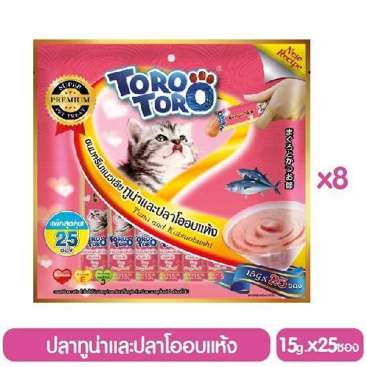 ขาย Toro Toro โทโร โทโร่ ขนมครีมแมวเลีย ทูน่าและปลาโออบแห้ง แพ็ค 8 15 G X 25 ซอง รวม 200 ซอง Toro Toro