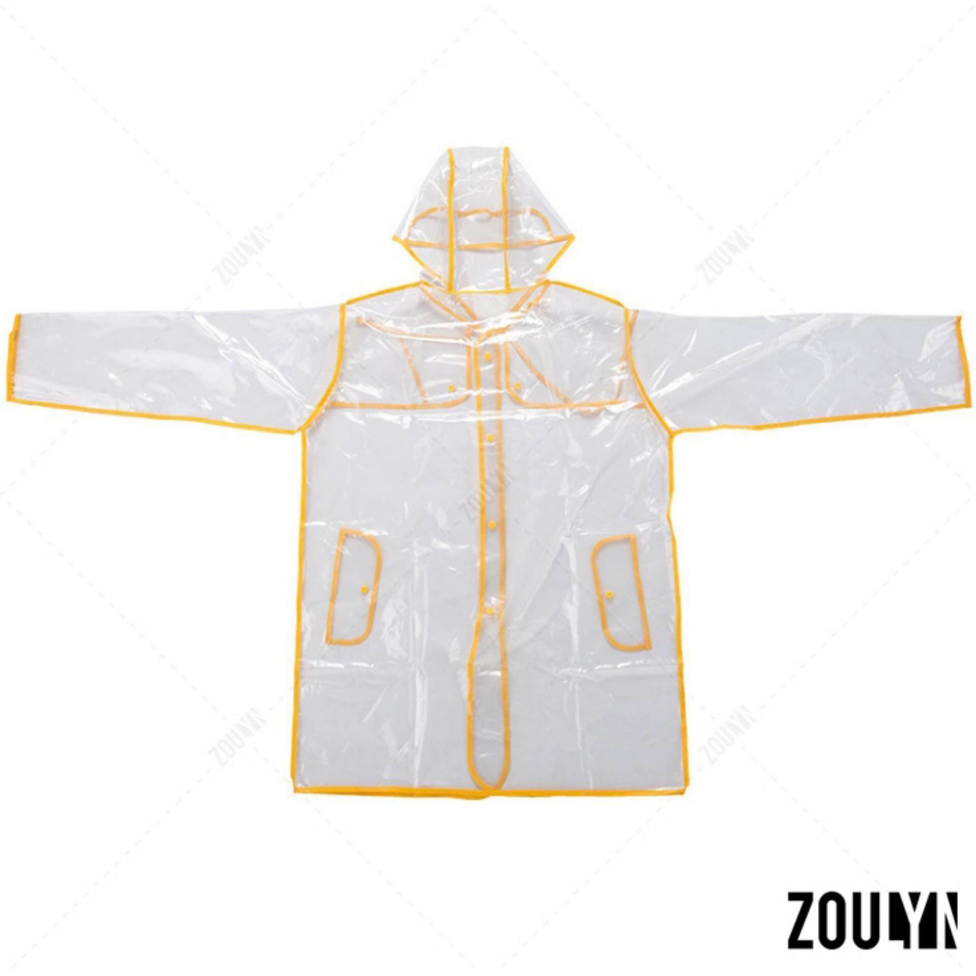 ซื้อ Zoulyn เสื้อกันฝน แฟชั่น โปร่งใส Fashion Transparent Waterproof Rain Coat ชุดกันฝน สไตล์ญี่ปุ่น รุ่น Kdf 0006 สีเหลือง Yellow