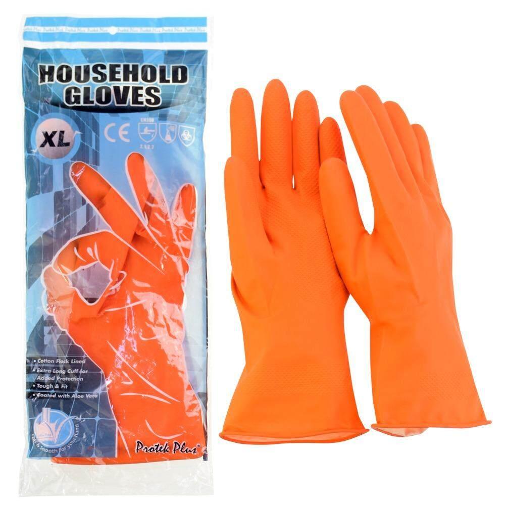 ถุงมือแม่บ้าน สีส้ม แบบหนา ยาว 30 ซม. (2 คู่ ต่อ ออเดอร์)