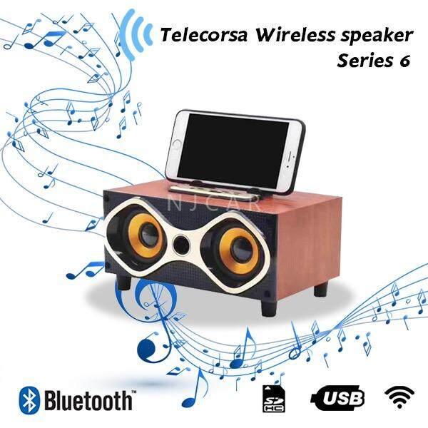 ราคา Njcar Shop Telecorsa Wireless Speaker ลำโพงบลูทูธ ลายไม้ รุ่น Woodenspeaker18C Bluetooth Speakers Charge 2