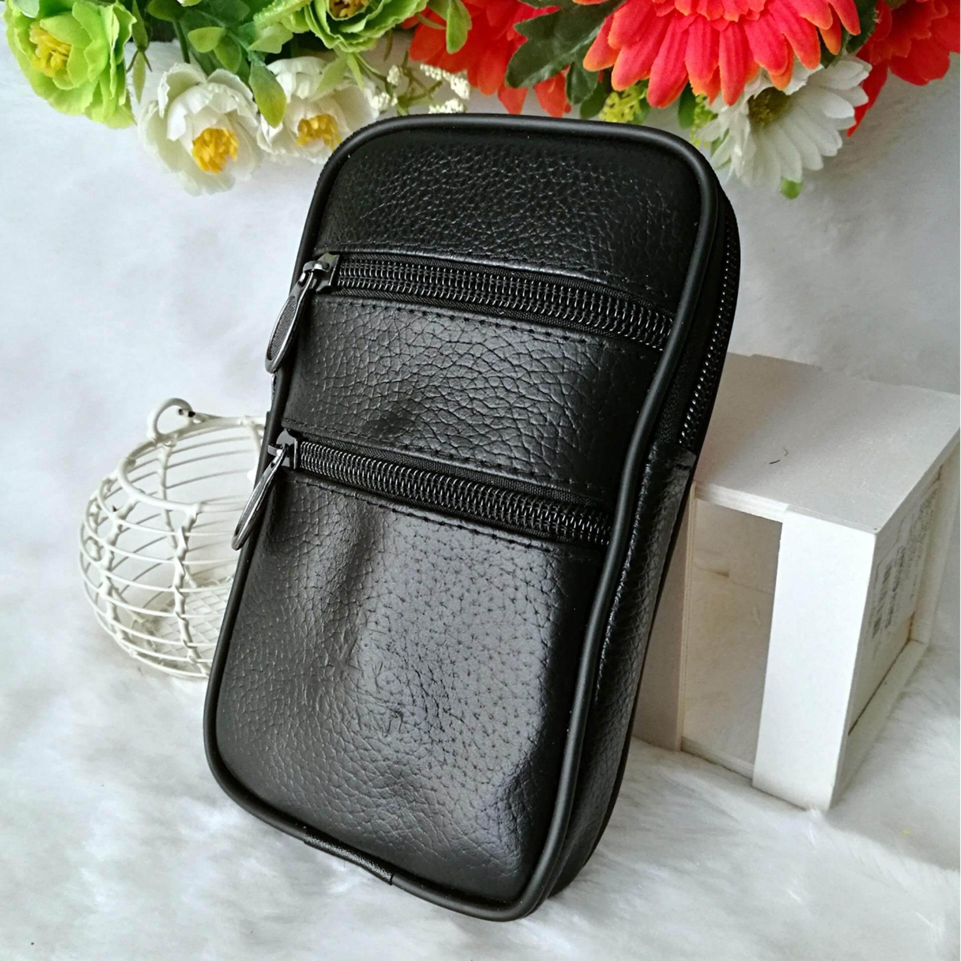 ซื้อ Leather Inc กระเป๋า ใส่มือถือแบบคาดเข็มขัดได้ หนังแท้หนังนิ่ม รุ่น Bmb001 2 สีดำ ออนไลน์ ไทย