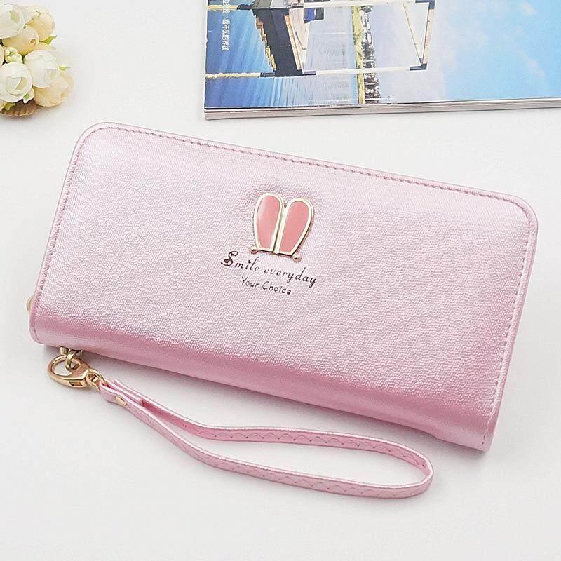 ราคา Korea Style กระเป๋าสตางค์ ใบยาว หนัง Pu กระเป๋าเงิน ผู้หญิง กระเป๋าตัง ตามวันเกิด รุ่น Rabbit สีชมพูอ่อน ถูก