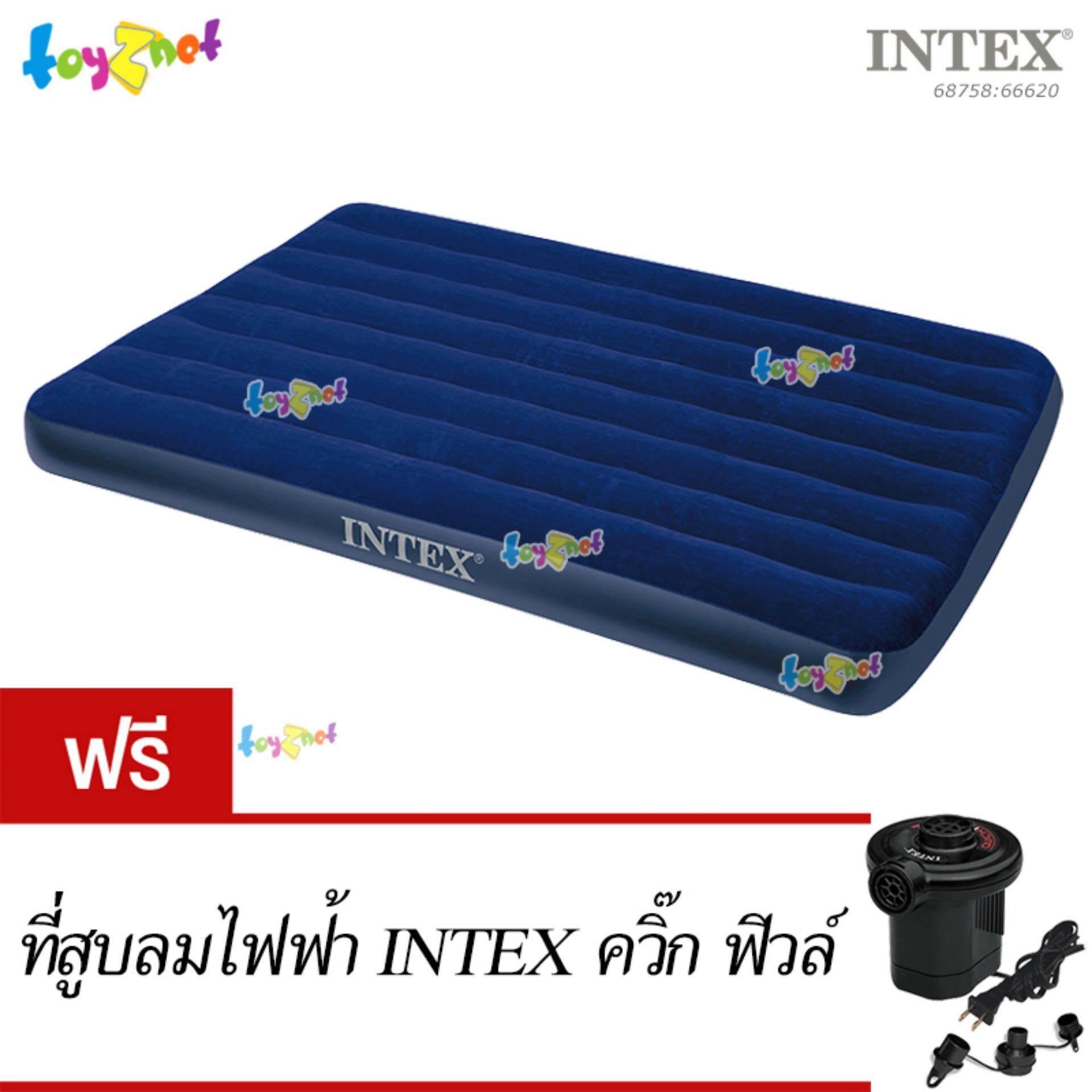 ขาย Intex ที่นอนเป่าลม แค้มป์ แคมป์ปิ้ง ปิคนิค 4 5 ฟุต ฟูล รุ่น 68758 ฟรี ที่สูบลมไฟฟ้า Intex ควิ๊กฟิวล์ Intex เป็นต้นฉบับ