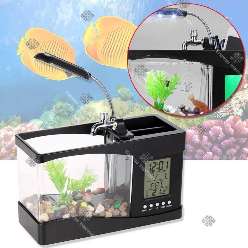 Sinlin ตู้ปลา USB อเนกประสงค์ หรือปลั๊กเสียบ เป็นที่ใส่อุปกรณ์เครื่องเขียน มีนาฬิกา ตั้งปลุกได้ รุ่น FT1B-EA (Black)
