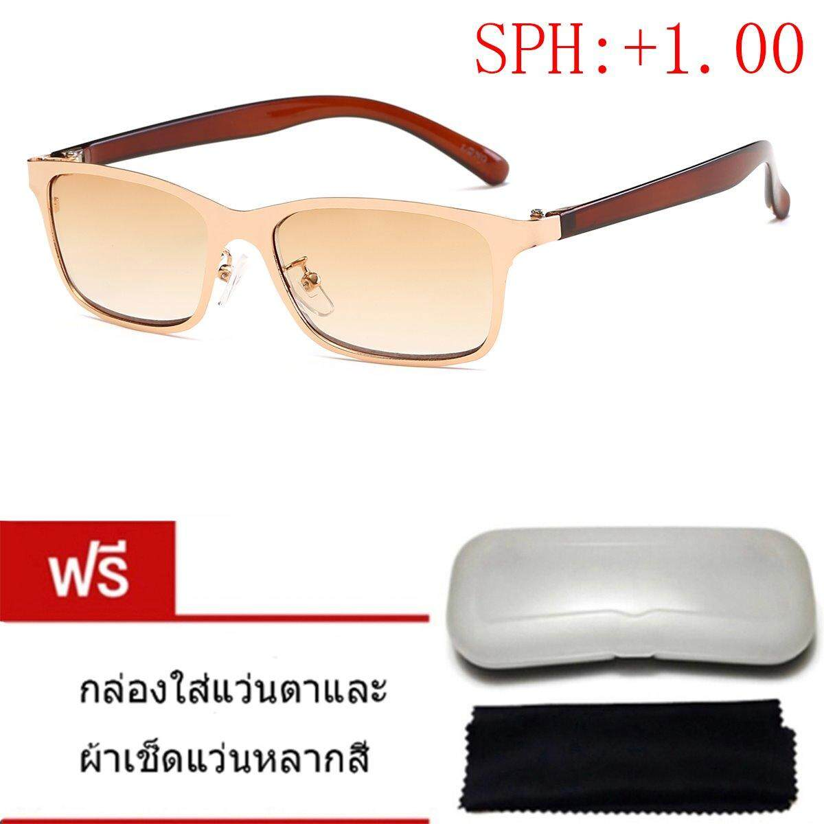 ราคา ราคาถูกที่สุด Long กรอบแว่นสายตา 00 ถึง 4 00 D รุ่น9804 กรอบสีทอง เลนส์ชา ฟรีกล่องและผ้าเช็คแว่น