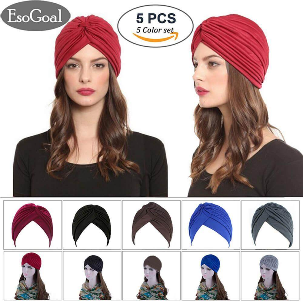 ส่วนลด สินค้า Esogoal 5 Pack Twisted Pleated Stretchable Polyester Head Wrap Knit Bonnet Turban Hat Hair Wrap Cover Up Sun Cap Available In 5 Colors