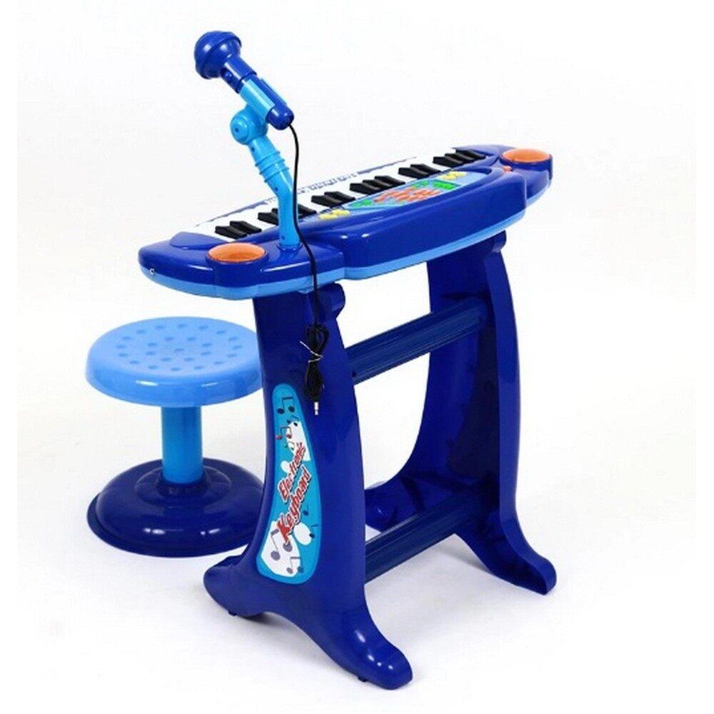ThaiTrendy อิเล็คโทนพร้อมไมค์โครโฟน+เก้าอี้นั่ง (สีฟ้า)