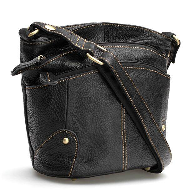 ขาย ซื้อ Chinatown Leather กระเป๋าสะพายหนังแท้ผู้หญิง 3 ซิปใส่ Ipad Mini สีดำ ใน กรุงเทพมหานคร