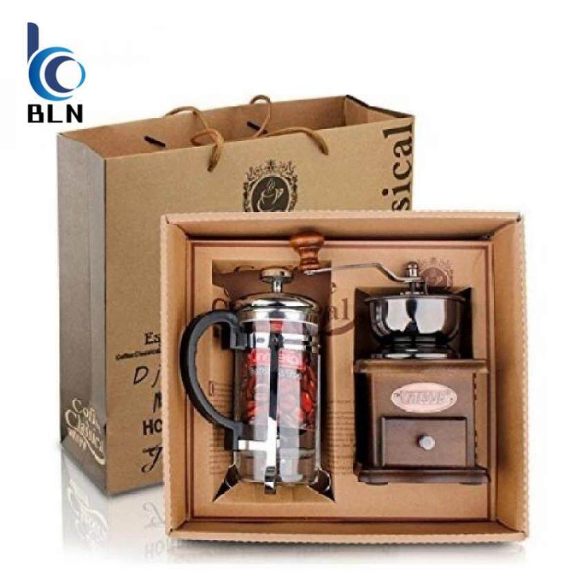 ซื้อ 【Bln Home】Vintage Style Manual Coffee Grinder Hand Grinder French Press Coffee Tea Maker Set In Gift Package ใน ฮ่องกง