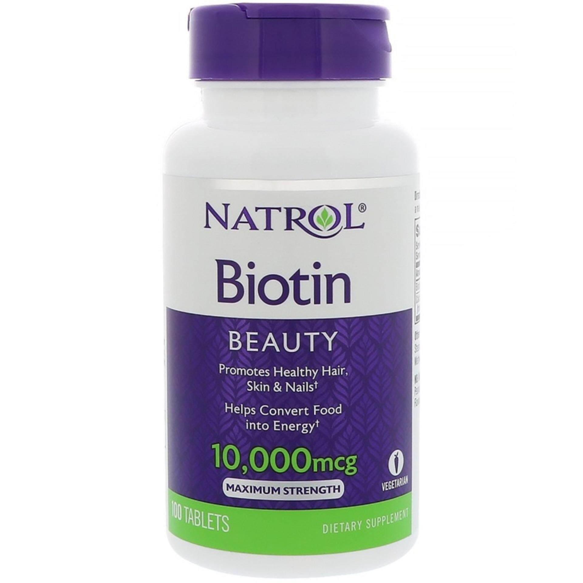 ราคา Natrol Biotin 10 000 Mcg 100 Tablets ไบโอตินแก้ปัญหาผมร่วง Natrol ใหม่