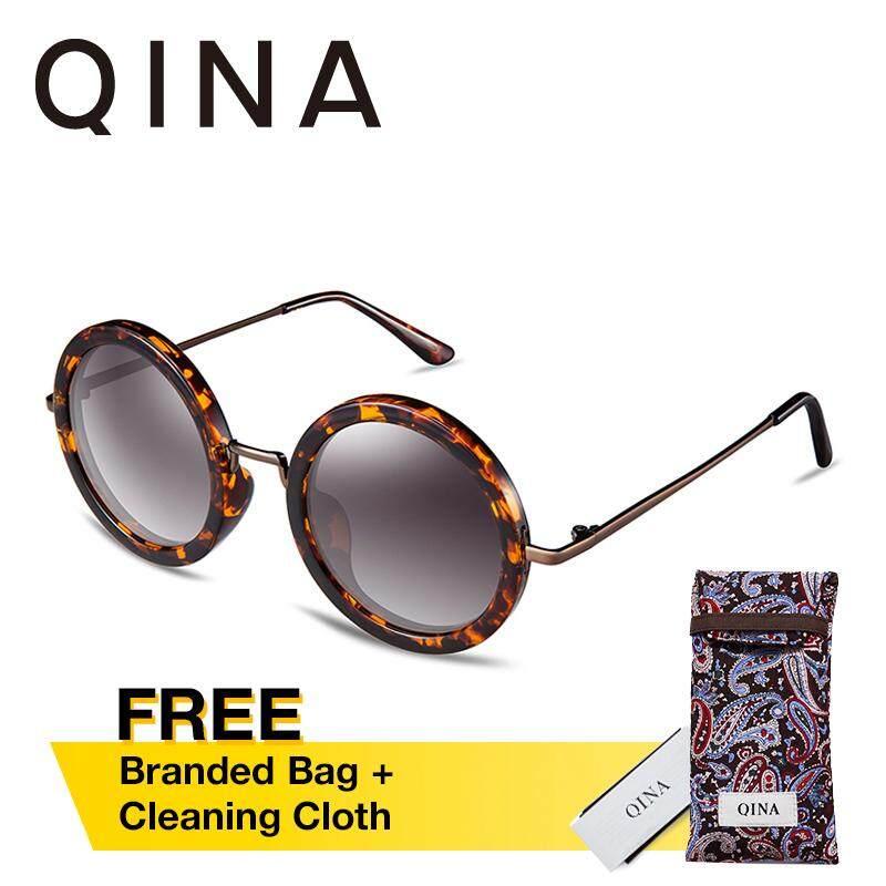 ราคา Qina Polarized Women Tortoise แว่นตากันแดดโลหะวัดแขนรอบ Uv 400 ป้องกันเลนส์ Qn3506 ที่สุด