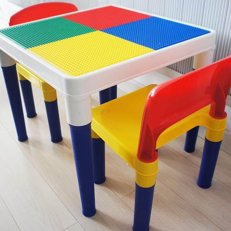 ขาย เฟอร์นิเจอร์เด็ก เซ็ทโต๊ะและเก้าอี้ ชุดโต๊ะและเก้าอี้2ตัว มีที่เก็บของใต้โต๊ะ หน้าโต๊ะ 2 ด้าน มีไม่เลโก้แถม ออนไลน์ ใน Thailand