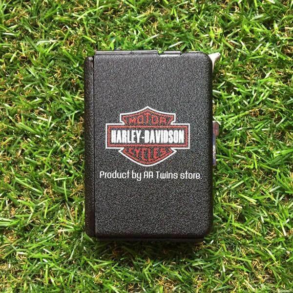 ราคา กล่องใส่บุหรี่ กล่องใส่บุหรี่พร้อมไฟแช็ค ลาย Harley Davidson