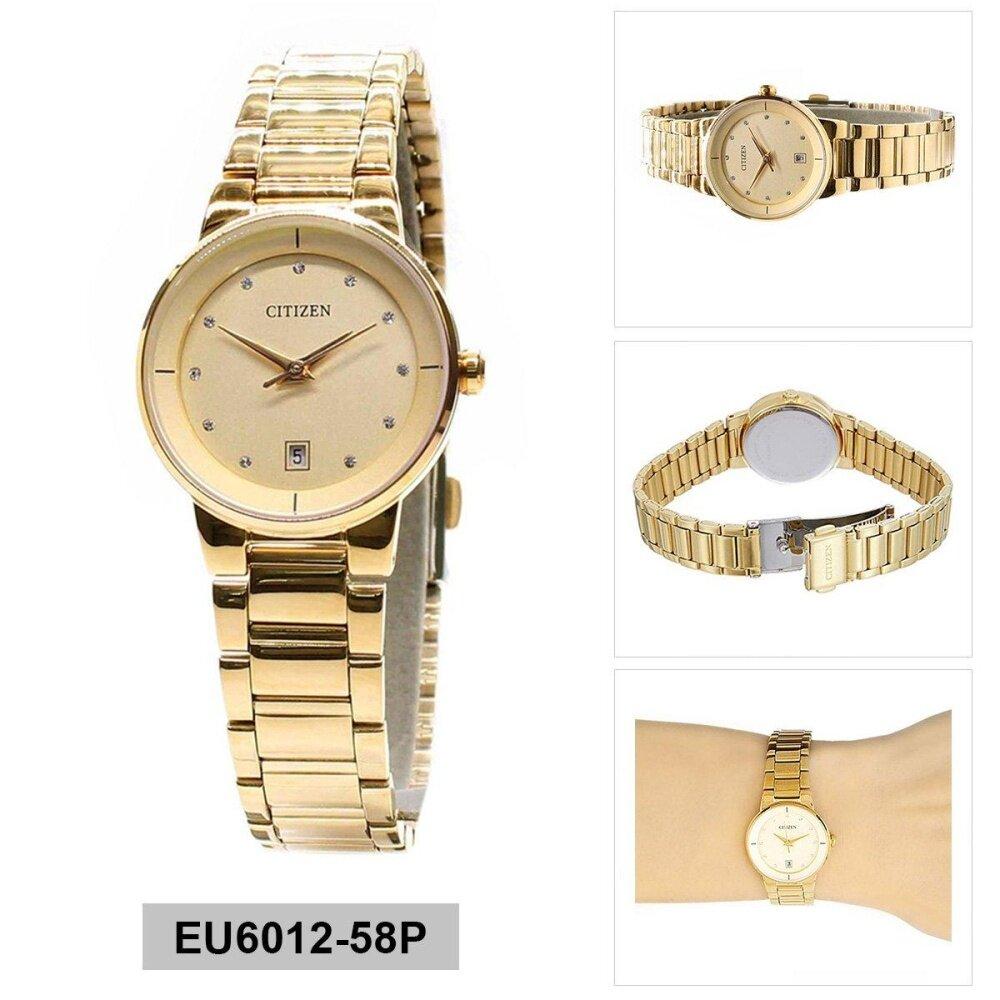 ซื้อ Citizen Watch Quartz Gold Stainless Steel Case Stainless Steel Bracelet Ladies Eu6012 58P Citizen ถูก