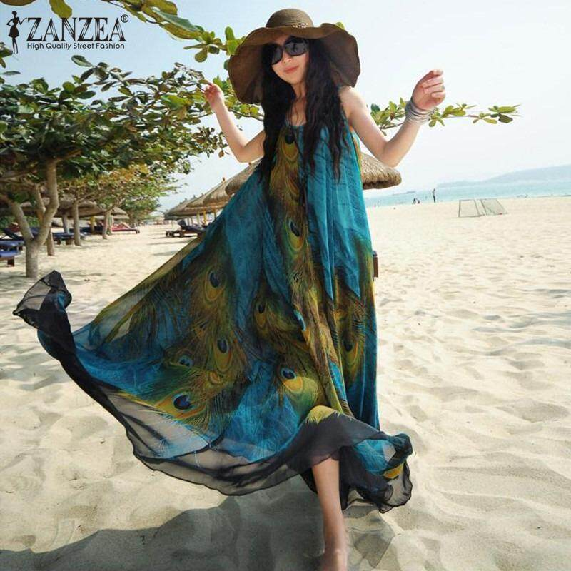 ขาย Zanzea Fashion Women Vintage Bohemia Ladies Sleeveless Floral Print Summer Beck Loose Long Maxi Dress Intl Zanzea ถูก