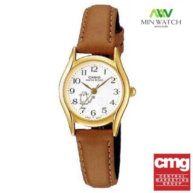 Casio Standard นาฬิกาข้อมือผู้หญิง - สีเงิน สายหนังน้ำตาล รุ่น LTP-1094Q-7B8สินค้าของใหม่ของแท้100% ≈