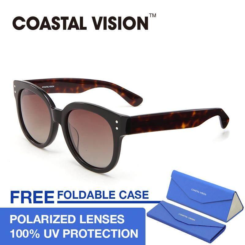 ซื้อ Coastal Vision แว่นกันแดดโพลาไรซ์สำหรับผู้หญิง ทรงกรอบใหญ่สีดำ เลนส์ป้องกันรังสี Uva B Cvs5032