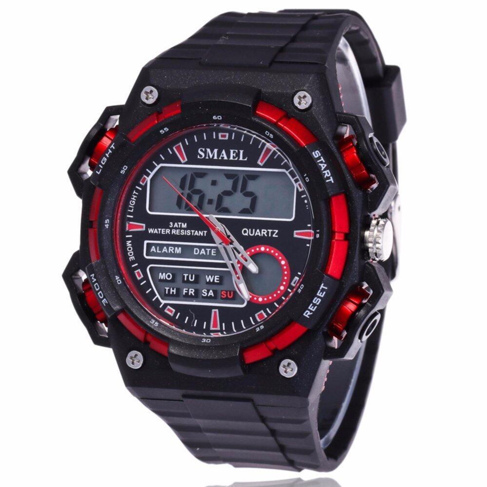 ซื้อ Mega กันน้ำ กีฬา นาฬิกาข้อมือ ชายและหญิง Sport Watch Dual Time Display Led Digital Quartz Waterproof 50M รุ่น Mg0030 Red Mega ถูก