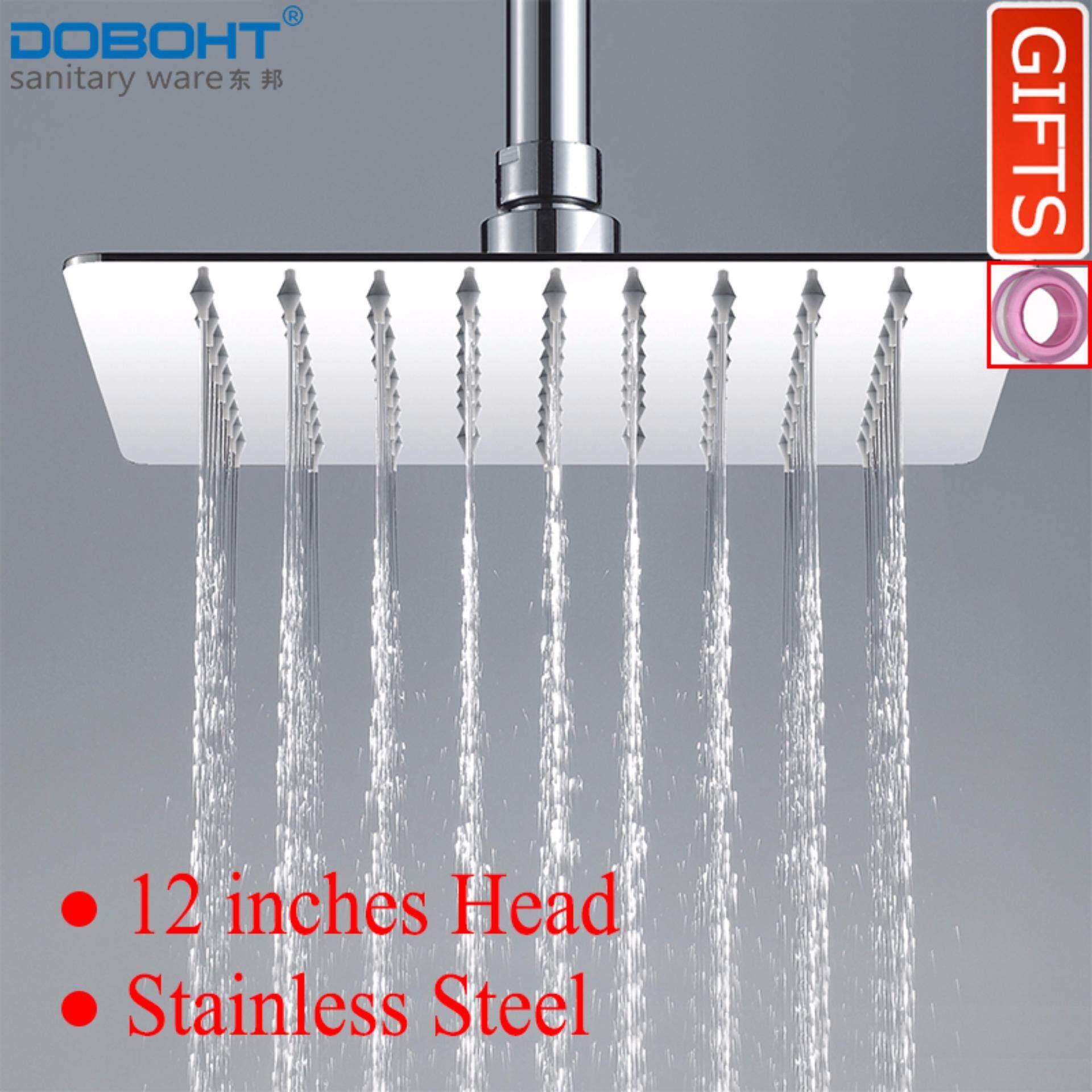 ขาย Doboht ห้องน้ำหน้าแรกปริมาณน้ำฝน 12 นิ้ว Square หัวฝักบัวสแตนเลสห้องน้ำ Sprayer ด้านบน ออนไลน์ จีน