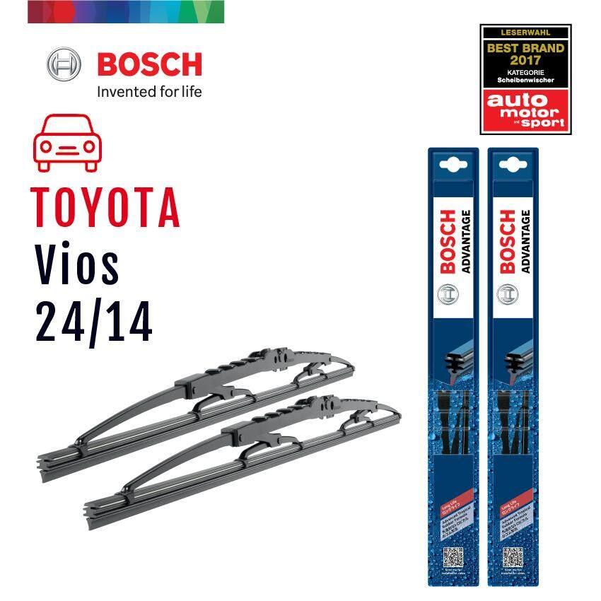 Bosch ใบปัดน้ำฝน Toyota Vios ปี 2007 เป็นต้นไป ขนาด 24/14 นิ้ว รุ่น Advantage