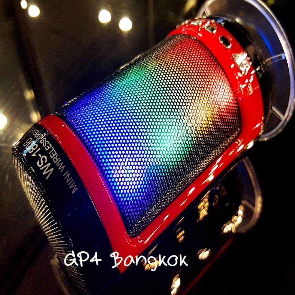 ราคา ลำโพงบลูทูธ เป็นรีโมทชัตเตอร์ในตัว พร้อมไฟดิสโก้ เปิด ปิดได้ Wireless Subwoofer Speaker รุ่น Ws 1806 Black Red Unbranded Generic ใหม่