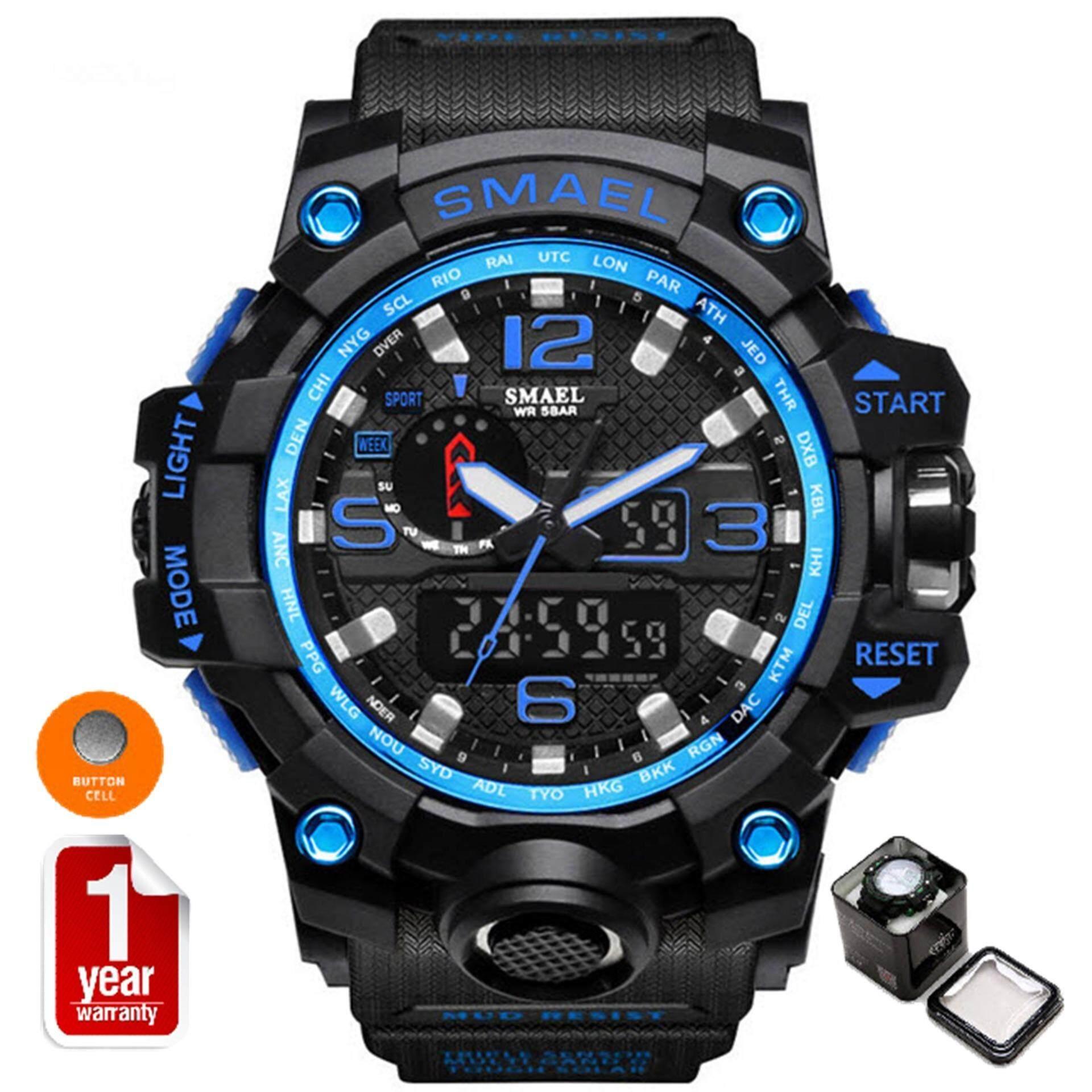 โปรโมชั่น Smael นาฬิกาข้อมือผู้ชาย Sport Digital Led รุ่น Sm1545 Black Blue Smael