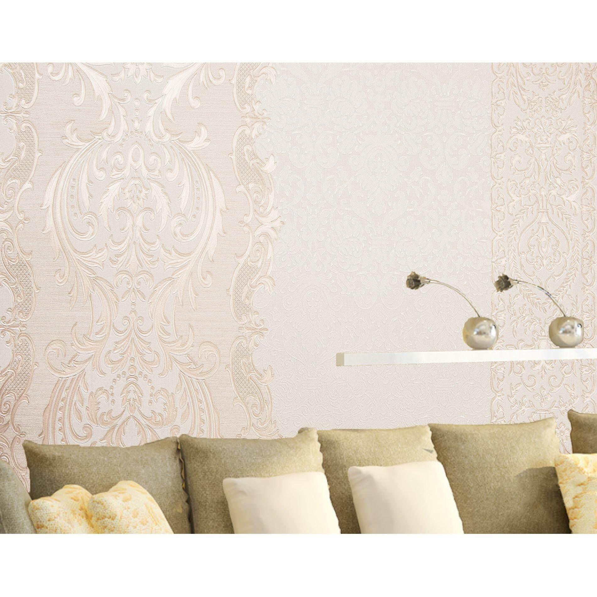 Homily Wallpaper Lxr รุ่น Pr 940103 โทนสีขาวมุก ลายดอกไม้ทองอ่อน ถูก