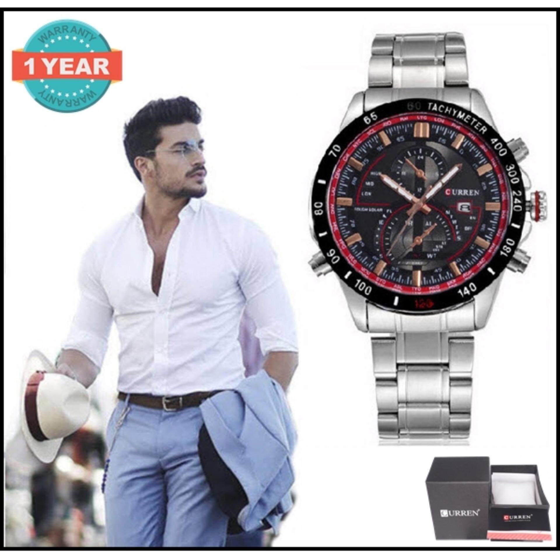 ซื้อ Curren นาฬิกาข้อมือผู้ชาย สีเงิน ดำ สายสแตนเลส รุ่น C8149 Curren ถูก