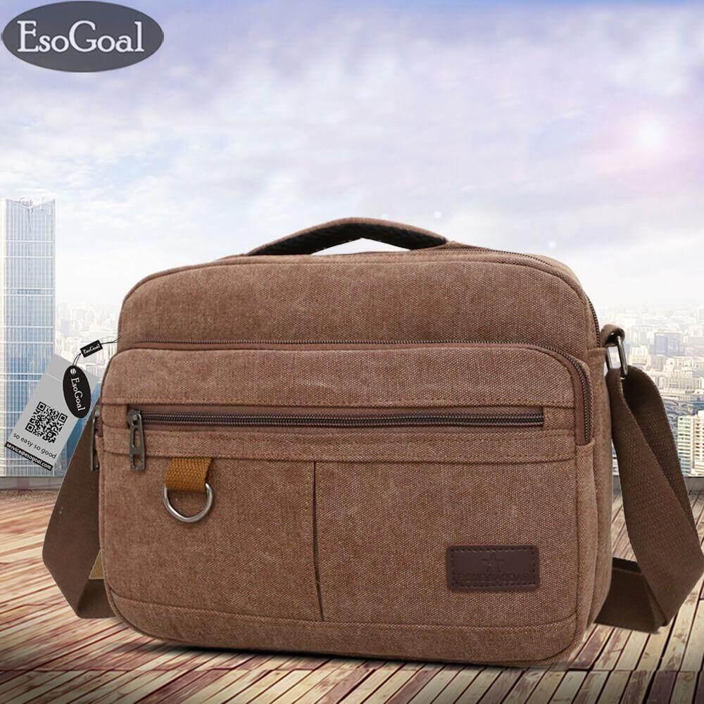ราคา Esogoal Men Messenger Bag Vintage Retro Canvas Shoulder Bag Messenger Handbags Cross Body Multi Zipper Pockets Bag ออนไลน์