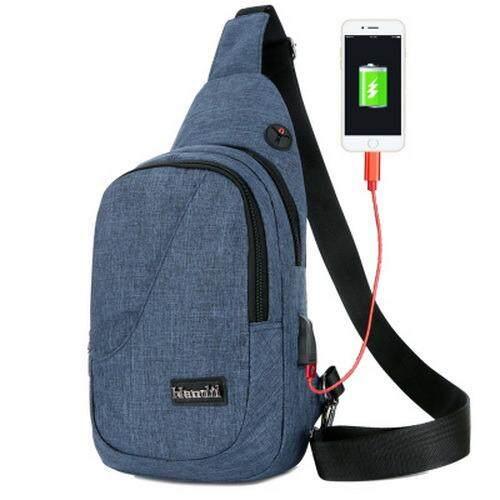 กระเป๋าคาด อก และลำตัว มาพร้อมช่องหูฟัง และ Usb สำหรับชาร์จ โทรศัพท์ เป็นต้นฉบับ