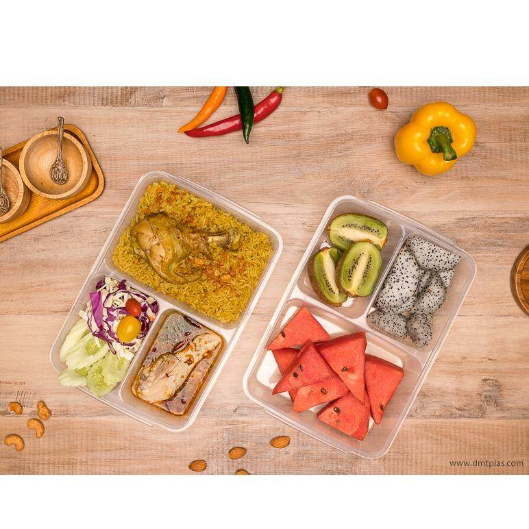 ขาย Dmt กล่องใส่อาหาร ถนอมอาหาร เบนโตะ Grab Go 3 ช่อง 1 เซ็ต 2 ชิ้น No 9802 ถูก