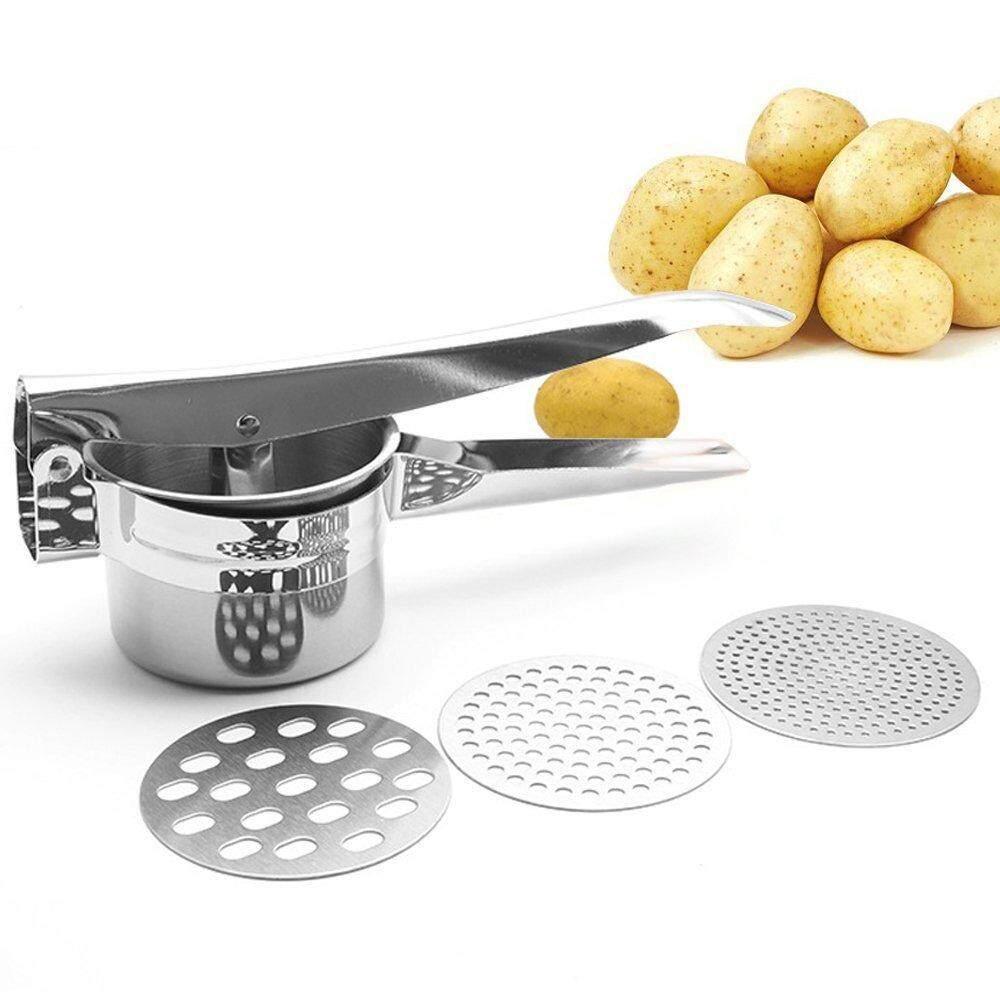ขาย Luowan Stainless Steel Potato Masher Ricer Fruit Press For Puree With 3 Interchangeable Discs Ergonomic Comfort Handle Design For Food Press Silver ราคาถูกที่สุด