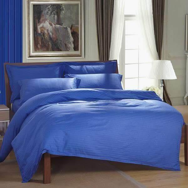 ขาย ผ้าปูที่นอนรัดมุม สีน้ำเงิน ลายริ้ว เกรด A ขนาด 3 5 ฟุต 3 ชิ้น ไม่รวมผ้านวม รหัส M002 ถูก Thailand