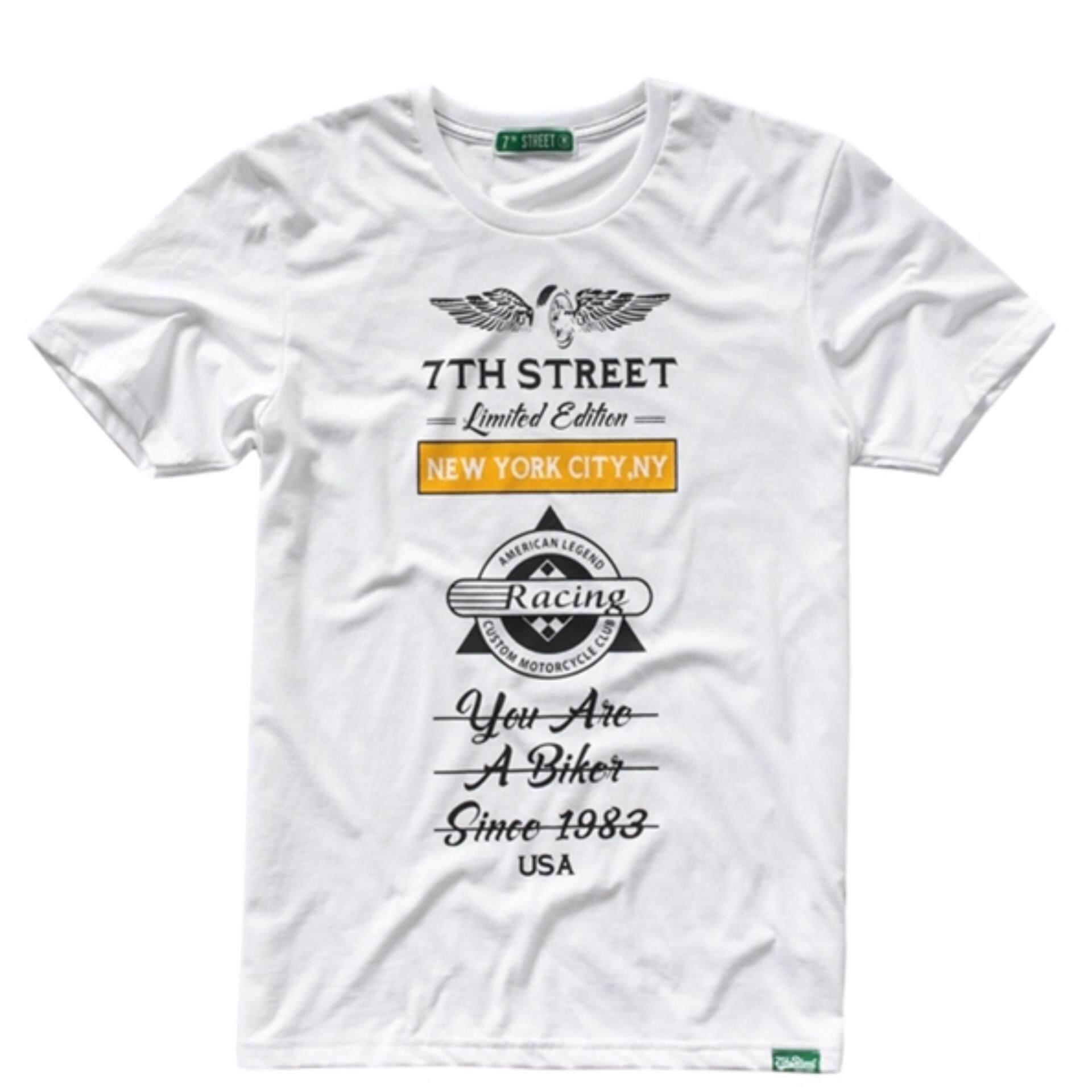 ขาย 7Th Street เสื้อยืดแนวสตรีท รุ่น Racing สีขาว ออนไลน์