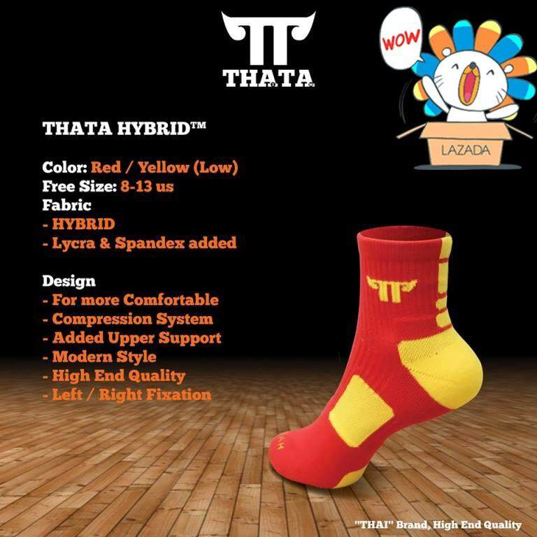 ราคา Thata Hybrid ถุงเท้าบาส แบบสั้น สีแดง เหลือง เป็นต้นฉบับ Thata