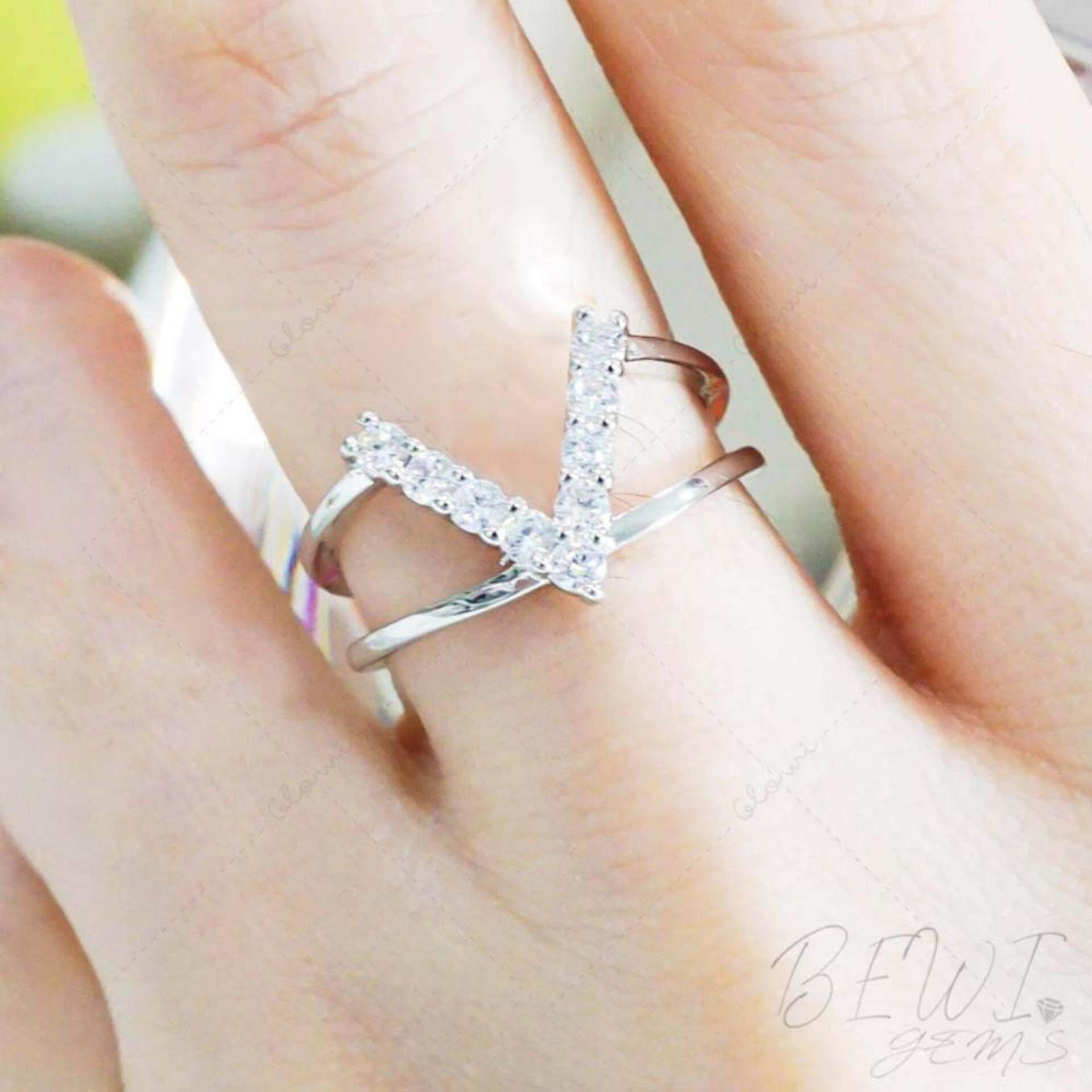 ราคา Bewi G แหวนผู้หญิง สไตล์ แหวนเพชร Ring ดีไซน์เก๋ ชุบทองคำขาว ฝังเพชร Cz อักษรตัว Y โมเดิร์น หรูหรา รุ่น Bg R0037 สีเงิน Silver ใหม่ล่าสุด