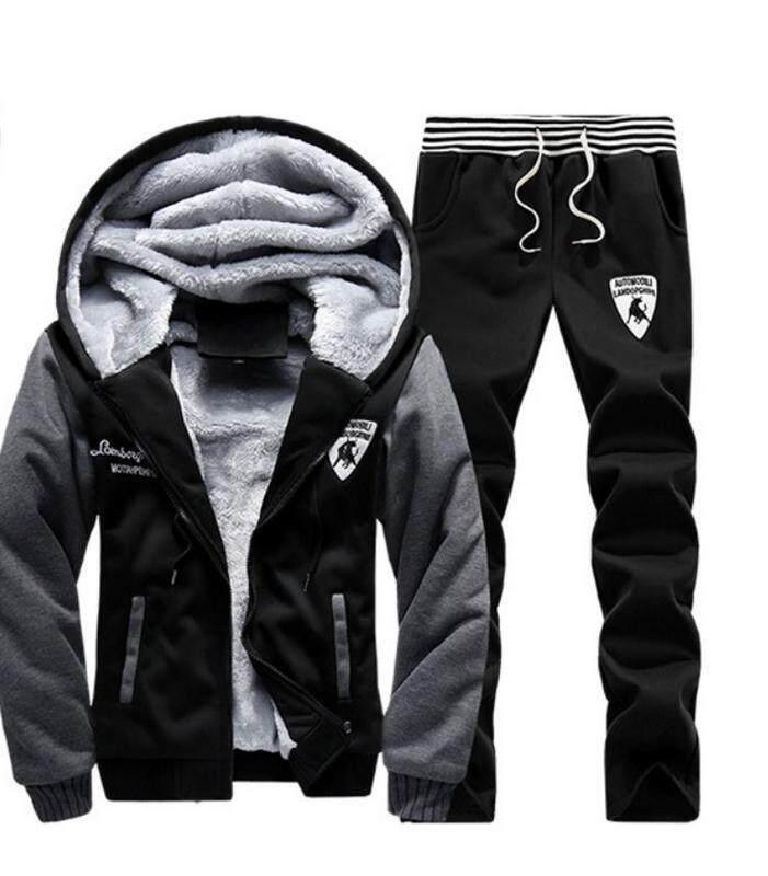 ราคา เสื้อแจ็คเก็ตพร้อมกางเกงจ๊อกเกอร์ Zashion Men S Two Piece Vevet Lined Jacket And Stylish Jogger Pants ออนไลน์