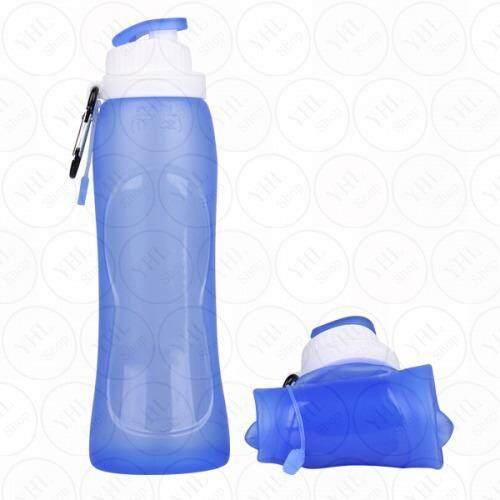 Yhl ขวดน้ำ กระติกน้ำ กระบอกน้ำ ซิลิโคน อย่างดี พับได้ บีบได้ สำหรับ เดินทางท่องเที่ยว กีฬา จักรยาน Folding Sport Drinking Water Bottle 500Ml เป็นต้นฉบับ
