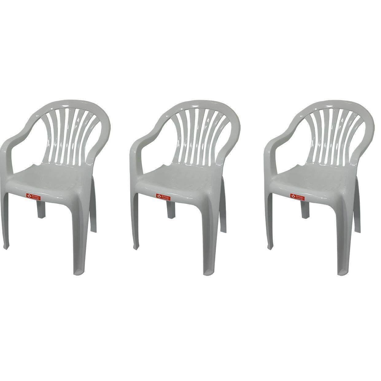 โปรโมชั่น เก้าอี้สนาม มีพนักพิง และ ที่เท้าแขน รุ่น 999 สีขาวอมเทา แพ็ค3ตัว 3S ใหม่ล่าสุด