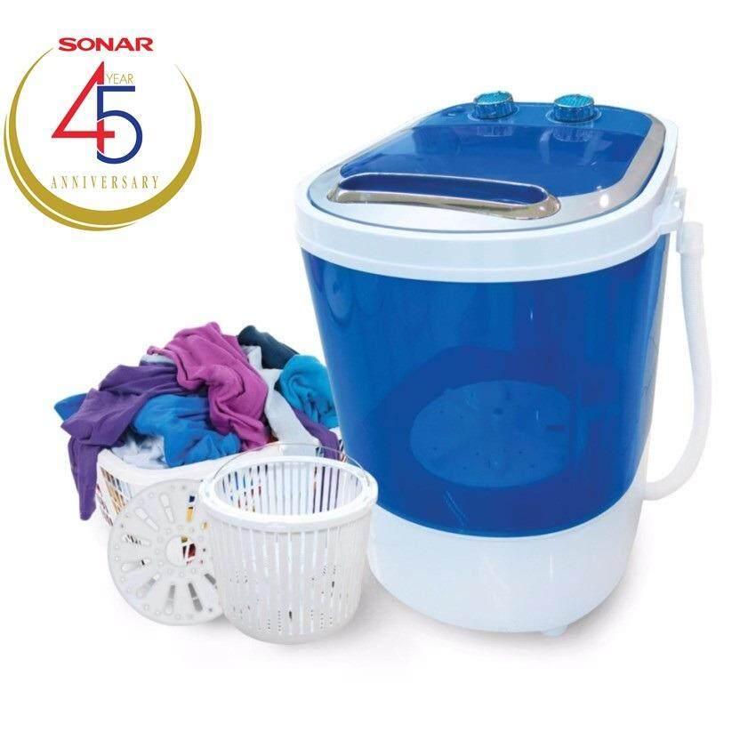 Sonar เครื่องซักผ้ามินิฝาบน ปั่นแห้งในตัว 2in1 รุ่น EW-A160 - สีฟ้า